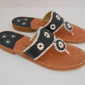 New Jack Rogers Jacks Sandals Navy White 10